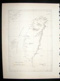 Japan Perry Expedition 1856 Antique Map. Island of Formosa, Taiwan